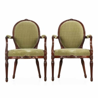 George III Carved Mahogany Arm Chairs - Pair
