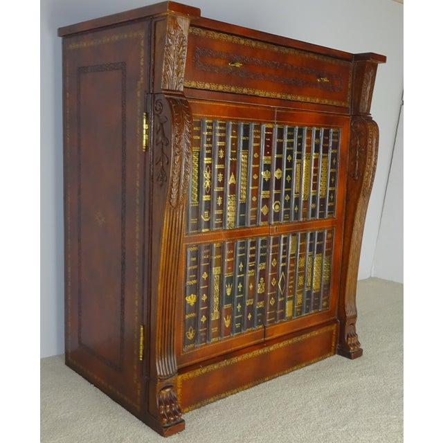 Maitland Smith Leather Faux Book Cabinet - Image 2 of 11