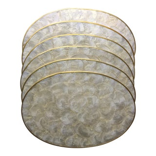 6 Vintage Oval Capiz Shell Placemats