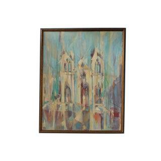 Vintage Lou Hazam Cubist Cathedral Painting
