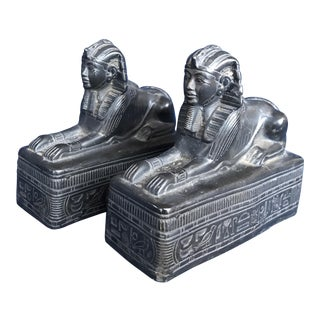 Vintage Sphinx Revival Stone Bookends - A Pair