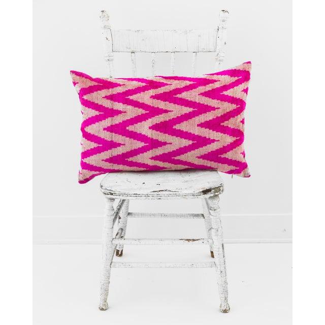 Pink Silk Velvet Ikat Pillow - Image 2 of 2