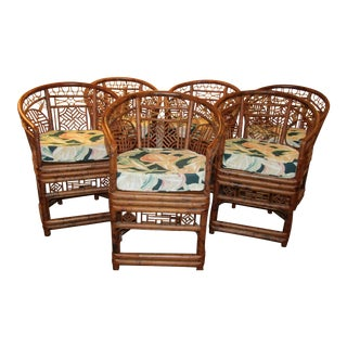 Vintage Burnt Rattan Dining Chairs - 6