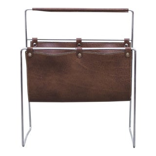 Mid-Century Leather Magazine Stand
