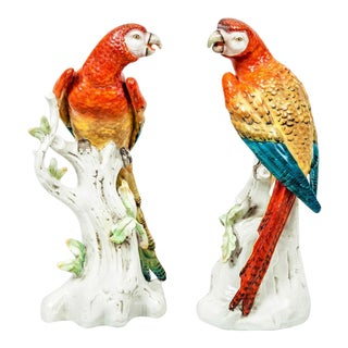Pair of Antique Continental Porcelain Parrots, Circa 1880