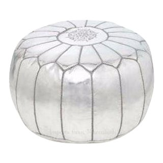 Silver Metallic Handmade Moroccan Leather Pouf