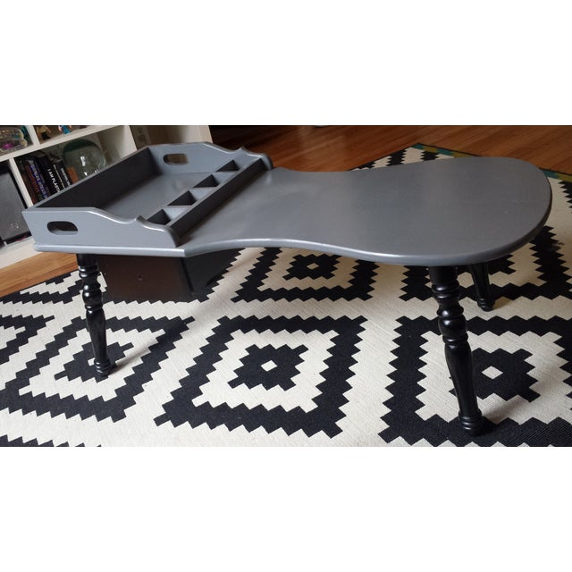 Image of Grey & Black Wooden Spindle Table