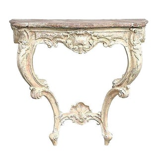 Antique Shell Motif Carved Wooden Wall Console
