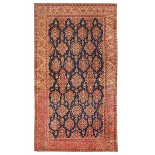 Antique Early 20th Century Oversize Persian Kashan Carpet