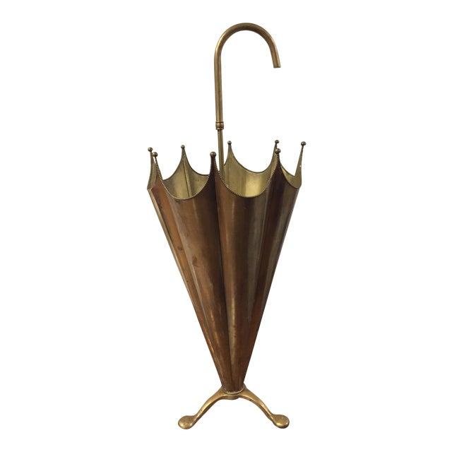 Mid-Century Brass Umbrella Stand - Image 1 of 5