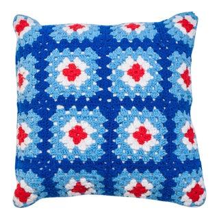Blue & Red Crochet Knit Pillow