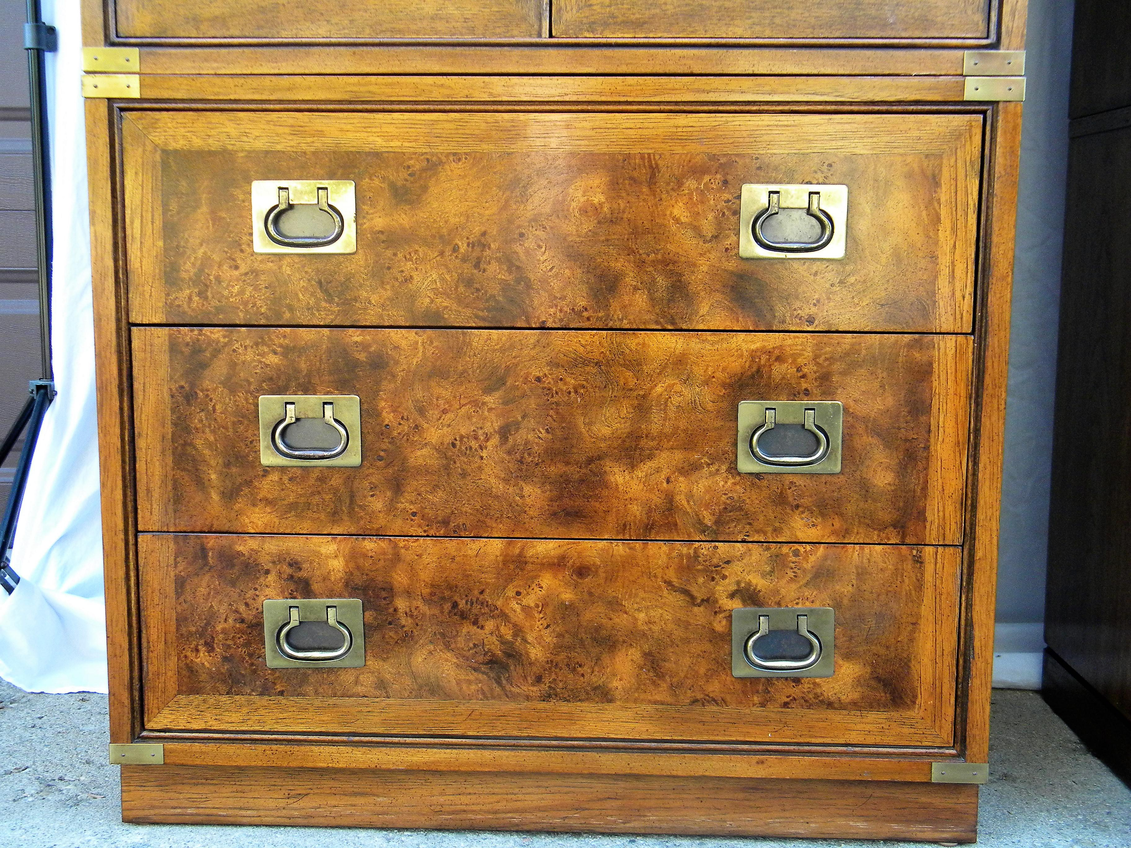 Hickory Furniture Company Campaign Cabinets   A Pair   Image 6 Of 9