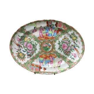 Hand Painted Rose Medallion Chinoiserie Platter