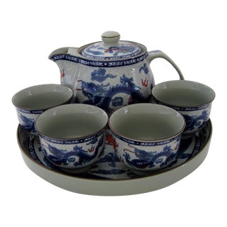 Chinese Dragon Motif Tea Service - 7 Pieces