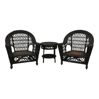 Wicker Patio Chairs & Table - Set of 3