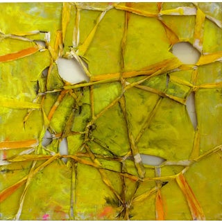 "Alfredo Ulloa ""Pierre (Yellow #1)"" Abstract Painting"