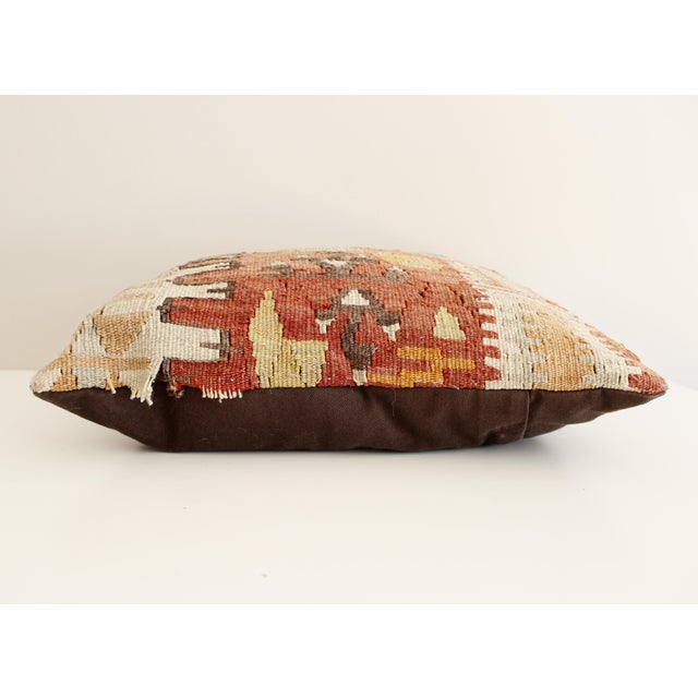 Vintage Turkish Kilim Pillow Multi Color Reds Brown Bohemian Mid Century - Image 3 of 5