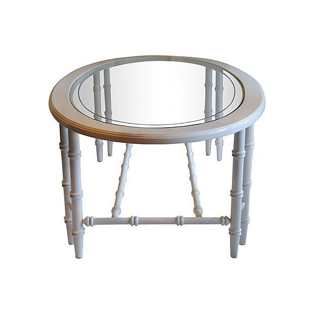 Image of Oval Faux-Bamboo Coffee Table