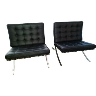 Knoll Barcelona Mies Van Der Rohe Chairs - A Pair