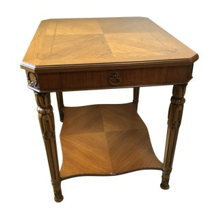 Weiman Vintage Ornate Marquetry Wood Side Table