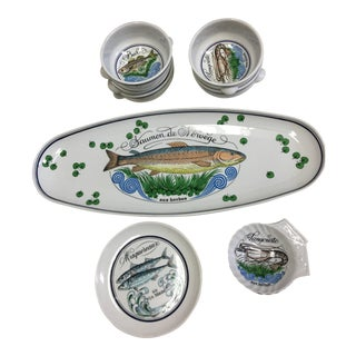 French Fish Plate & Dishes - Set of 10