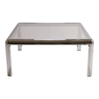 Mid-Century Square Chrome Cocktail Table with Rounded Frame