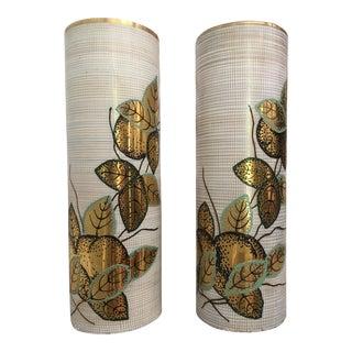 Handpainted Mid-Century Vases - A Pair