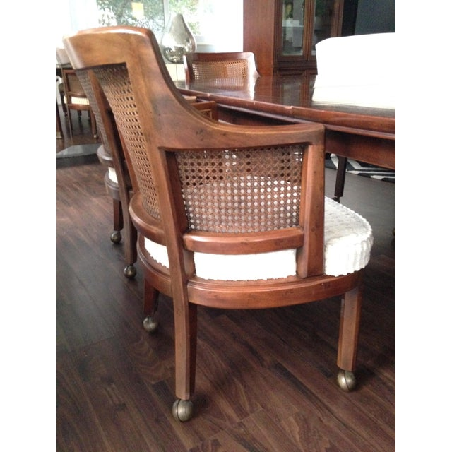Henredon Game Table With 6 Cane Back Chairs Chairish
