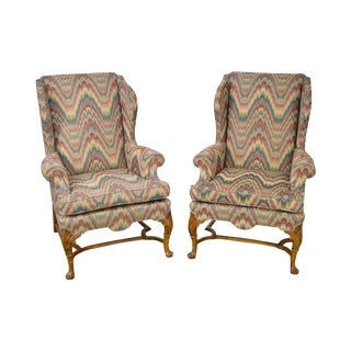 Baker Flame Stitch Queen Anne 18th Century Style Wing Chairs - A Pair