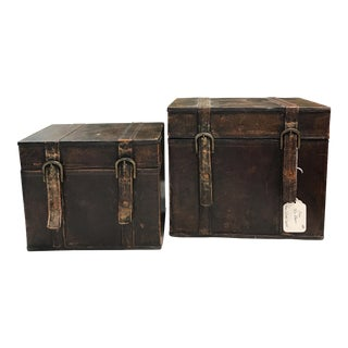 Vintage Leather Storage Boxes - A Pair