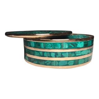 Round Malachite Jewelry Box