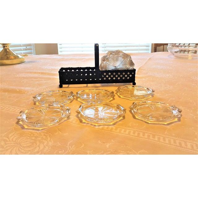 Mid-Century Cut Glass Coasters & Holder - Set of 12 - Image 2 of 5