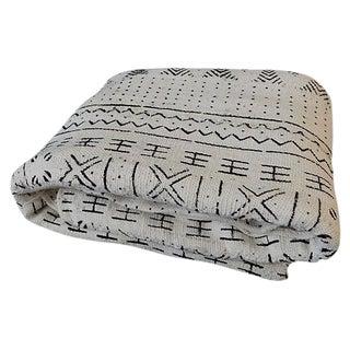 Lg Black & White Mali Mud Cloth Textile