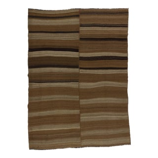 Handwoven vintage natural brown Turkish kilim rug