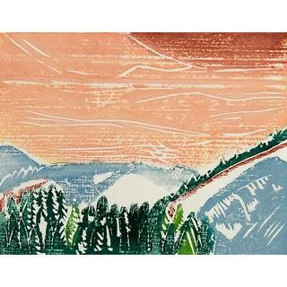 December Dawn Landscape Block Print
