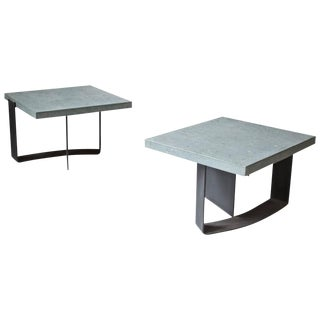 Pair of Italian Grey Limestone and Enameled Steel Side Tables; 1970s