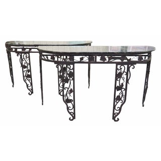 Marbletop Wrought Iron Carved Console Tables - Pair
