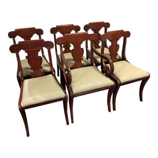 Vintage Willett Solid Cherry Empire Style Dining Chairs - Set of 6