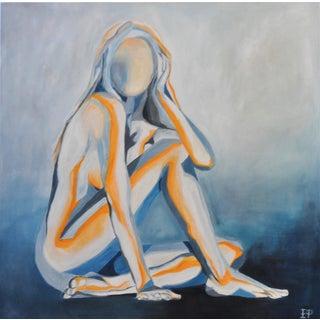 Orange & Blue Nude Painting