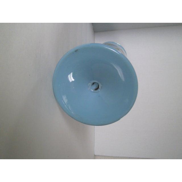 Large Robins Egg Blue Bristol Glass Vase - Image 7 of 7