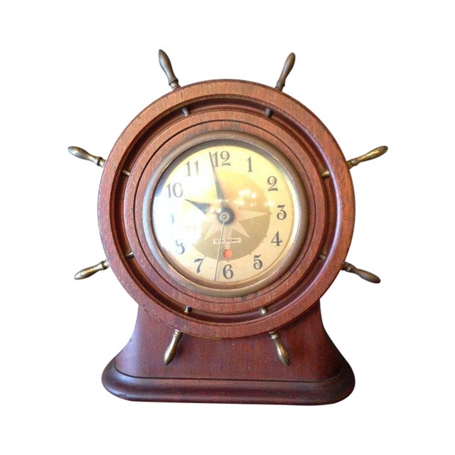 Vintage Seth Thomas Nautical Wheel Clock - Image 1 of 4