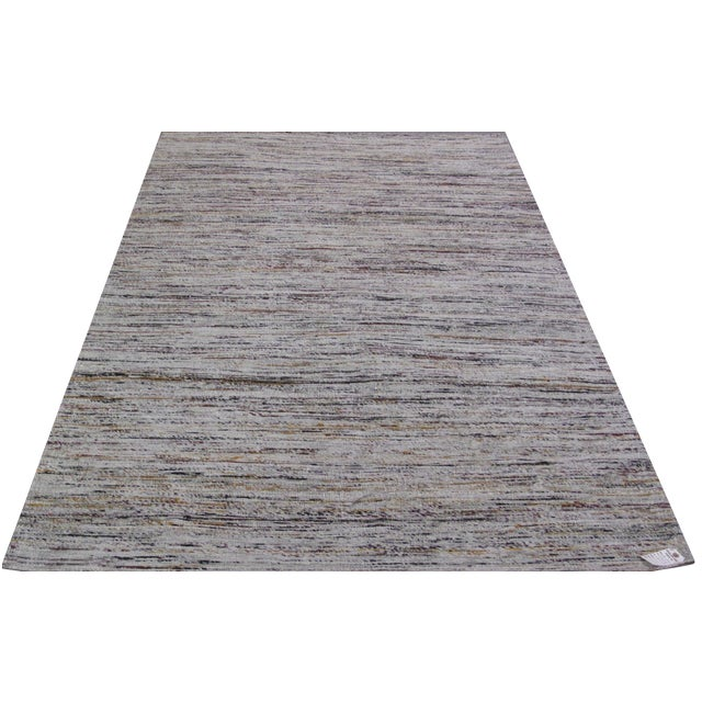 Image of Gray Jacquard Loom Indian Rug - 5' x 8'