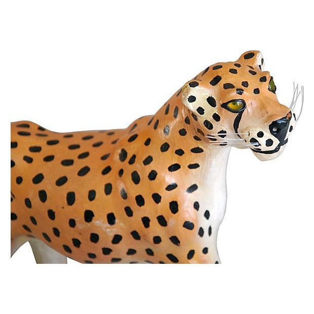 Image of 1970s Hand-Painted Leather Cheetah Figurine