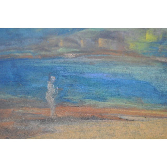 """Abraham Goldberg """"Coastal Scene w/ Figures"""" Pastel Painting c.1930s - Image 4 of 7"""