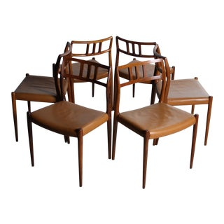 Moller #79 Chairs in Rosewood & Original Cognac Leather - Set of 6
