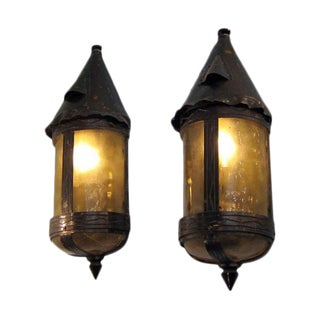 Arts & Crafts Bronze & Copper Sconces - A Pair