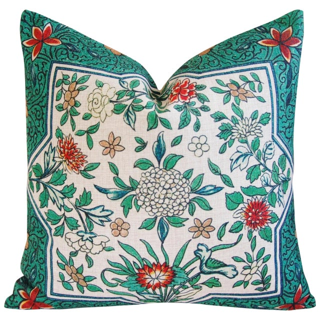 Spring Floral Blossom Feather/Down Linen Pillow - Image 1 of 4