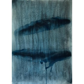 "Menemsha Whales in Indigo - Watercolor Print - 24"" X 30"""