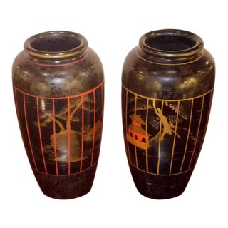Japanese Hand Painted Vases- A Pair