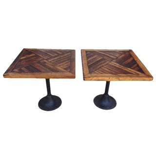 Pair of Reclaimed Wood, Parquet Design Antique Side Tables